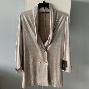 NWT Zara shimmer metallic tuxedo blazer holidays